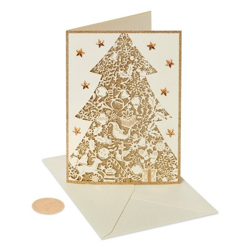Papyrus Christmas Cards.8ct Papyrus Gold Glitter Christmas Tree Boxed Holiday Greeting Cards