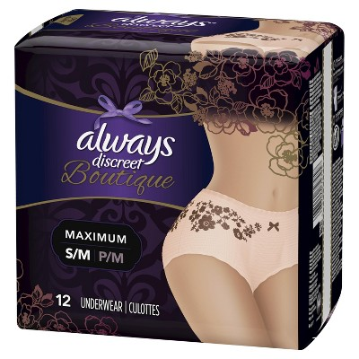 Always Discreet Boutique Incontinence & Postpartum Underwear for Women - Maximum Absorbency - Small/Medium - 12ct