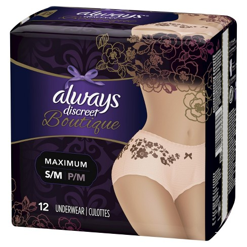 Always Discreet Boutique Incontinence & Postpartum Underwear for Women - Maximum Absorbency - Small/Medium - 12ct - image 1 of 4