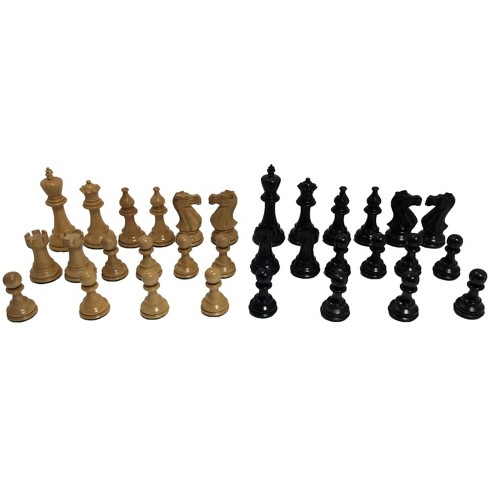 "4.25"" Black & Natural Boxwood Chessmen Board Game - image 1 of 2"