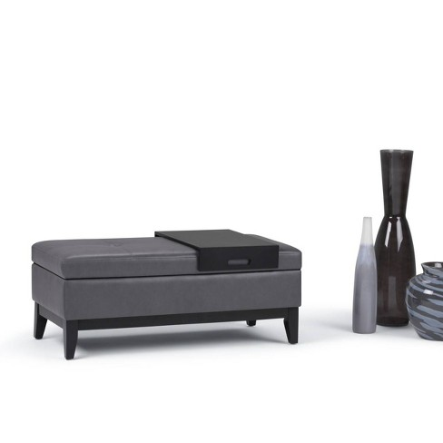 Wondrous Jackson Storage Ottoman Bench With Tray Stone Gray Faux Gmtry Best Dining Table And Chair Ideas Images Gmtryco