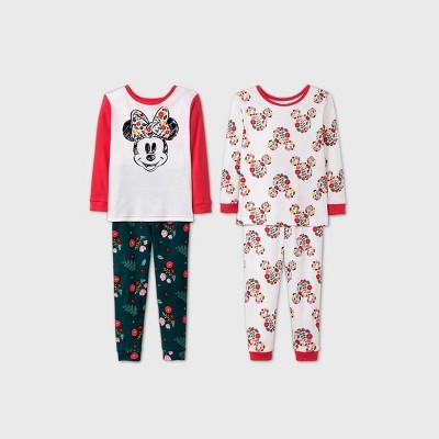 Baby Girls' 4pc Minnie Mouse Pajama Set - Pink 12M