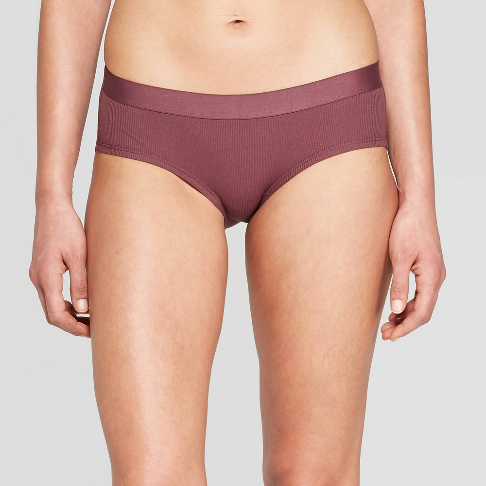 Womens Ribbed Cotton Hipster Underwear - Auden Burgundy Mist XS Red Blue Reviews