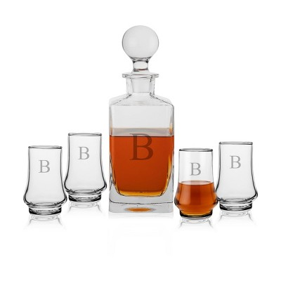 5pc Glass Classic Whiskey Monogrammed Decanter Set - Cathy's Concepts
