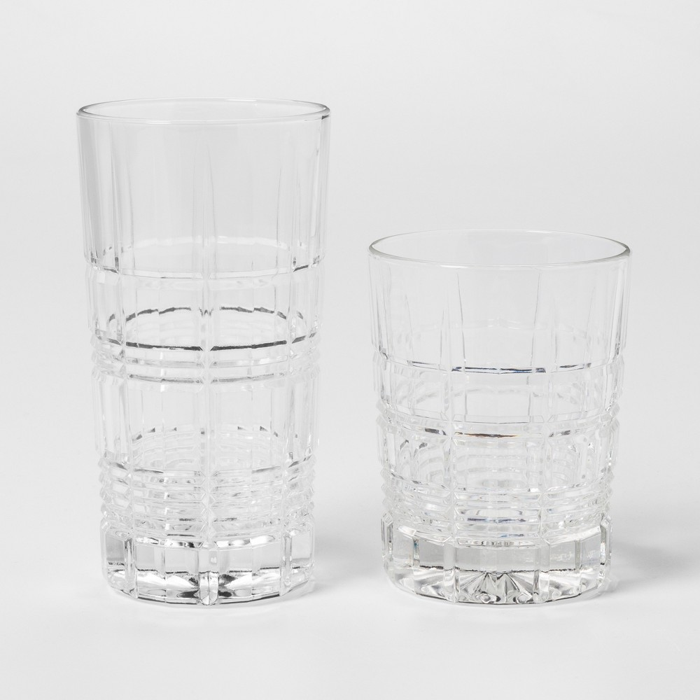 Image of 12pc Glass Assorted Beveled Tumblers - Threshold , Clear