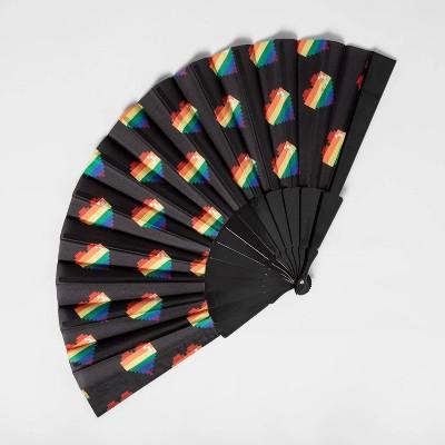 Pride Gender Inclusive Adult Heart Printed Fan