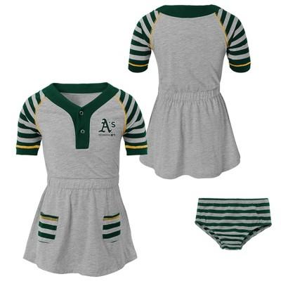 Oakland Athletics Girls' Striped Gray Infant/Toddler Dress - 12M