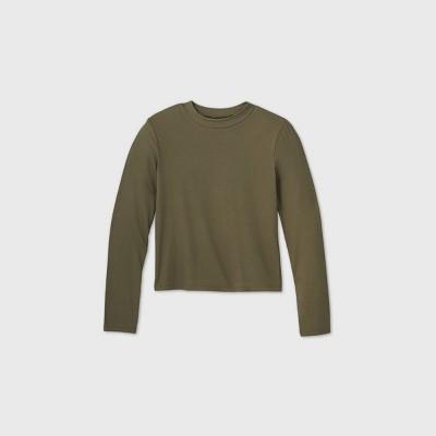 Girls' Rib-Knit Mock Neck Long Sleeve Top - art class™