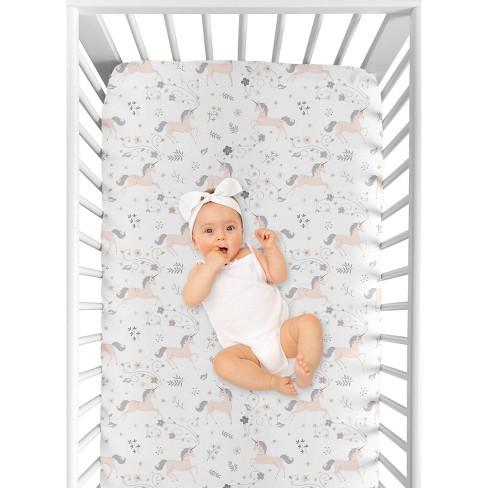 Sweet Jojo Designs Fitted Crib Sheet - Unicorn - White - image 1 of 4