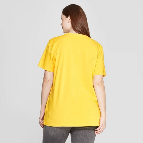 aa41656e3 Women's Plus Size Short Sleeve Crewneck Be In The Present Flower Screen T- Shirt - Mighty Fine (Juniors') - Yellow : Target