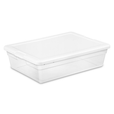 Sterilite 28qt Clear Plastic Under Bed Storage Bin with Lid White