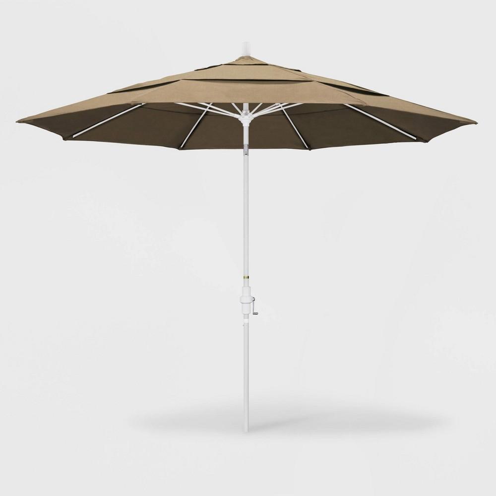 Image of 11' Sun Master Patio Umbrella Collar Tilt Crank Lift - Sunbrella Heather Beige - California Umbrella, Grey Beige