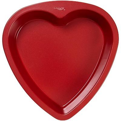 "Wilton 10.2"" Metal Non-Stick Heart Shaped Baking Pan Red"