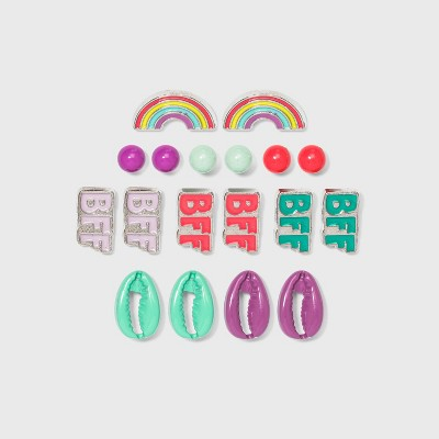 Girls' 9pk BFF Rainbow with Shell Earring Set - Cat & Jack™