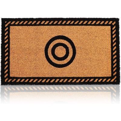 """Juvale Monogrammed Letter O Coir Door Mat Welcome Doormat Indoor Outdoor Nonslip Front Rugs 17""""x30"""""""
