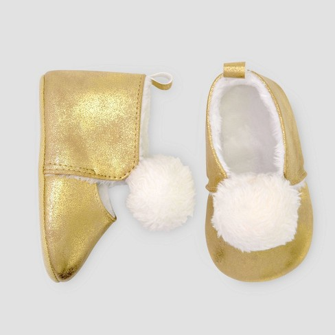 Baby Girls' Mary Jane Sherpa Crib Shoes - Just One You® made by carter's Gold 0-3M - image 1 of 1