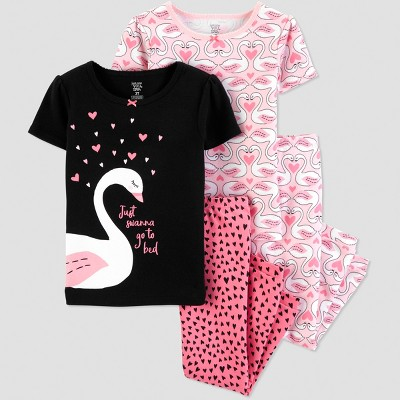 Baby Girls' 4pc Black Swan Short Sleeve Pajama Set - Just One You® made by carter's Pink/Black 12M