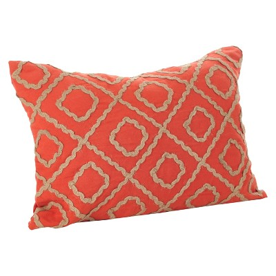 Red Artemis Jute Embroidered Design Throw Pillow (14 x20 )- Saro Lifestyle®