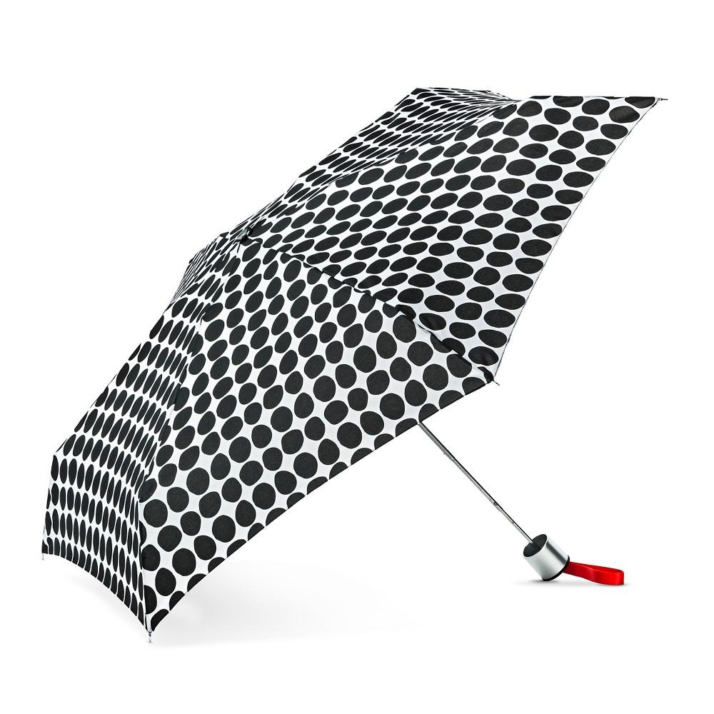 ShedRain Manual Compact Umbrella - Black Polka Dot