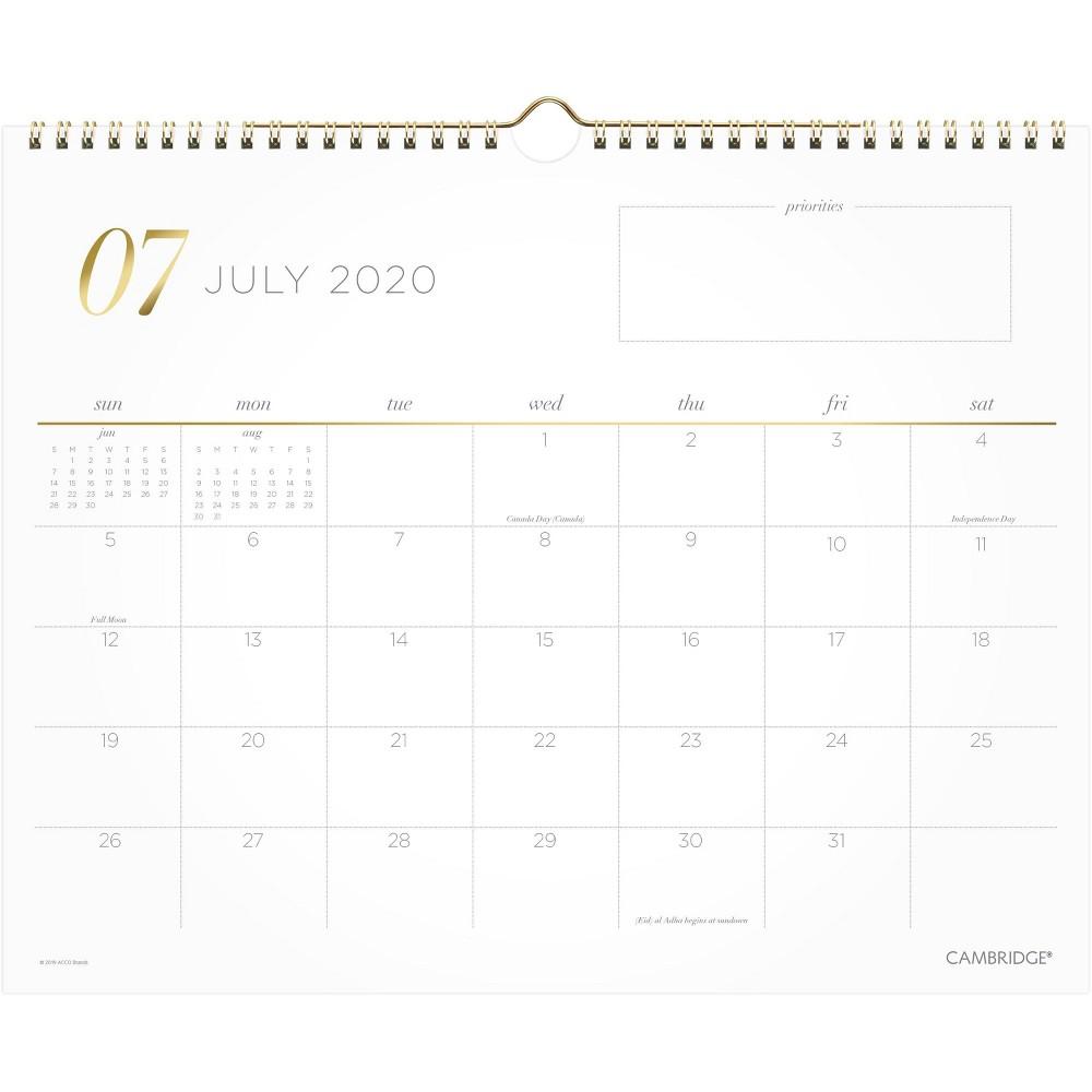 Image of 2020-2021 Academic Wall Calendar Work Style Cambridge