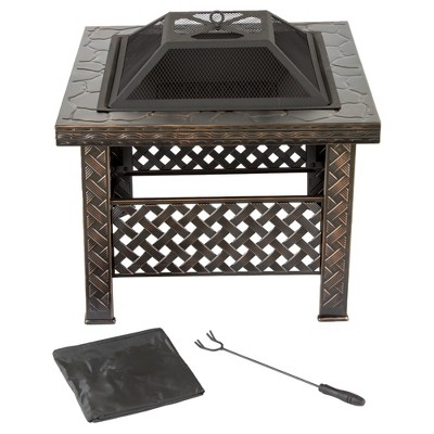 26  Square, Wood Burning Woven Metal Fire Pit With Cover - Bronze - Pure Garden