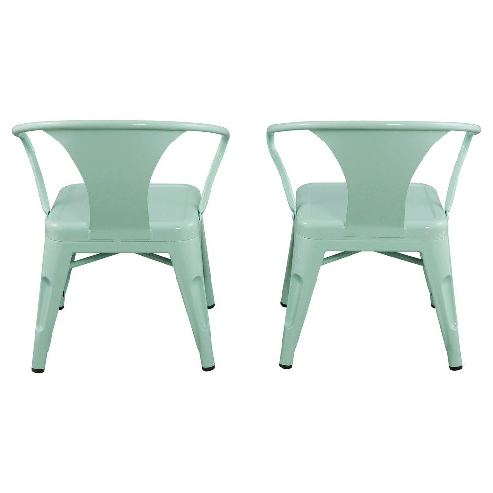 Image of Metal Kids Chair (Set of 2) - Mint Green - Reservation Seating, Green Green