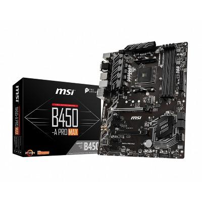 MSI B450-A Pro Max ProSeries AMD Ryzen 2nd and 3rd Gen AM4 M.2 USB 3 DDR4 D-Sub DVI HDMI Crossfire ATX Motherboard