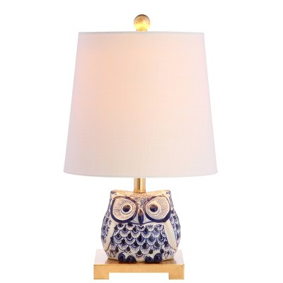"16"" Ceramic Justina Mini Table Lamp (Includes LED Light Bulb) Blue - JONATHAN Y"