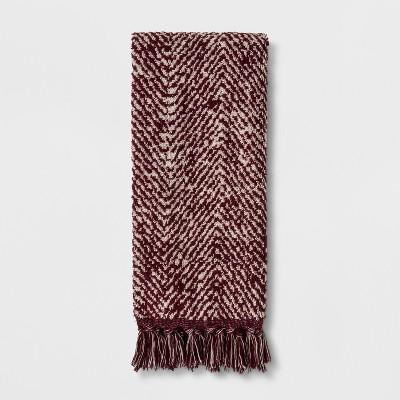 Herringbone with Fringe Hand Towel Berry - Threshold™