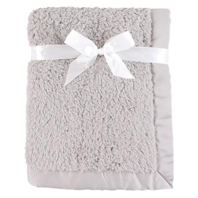 Hudson Baby Unisex Baby Sherpa Plush Blanket with Satin Binding - Gray One Size