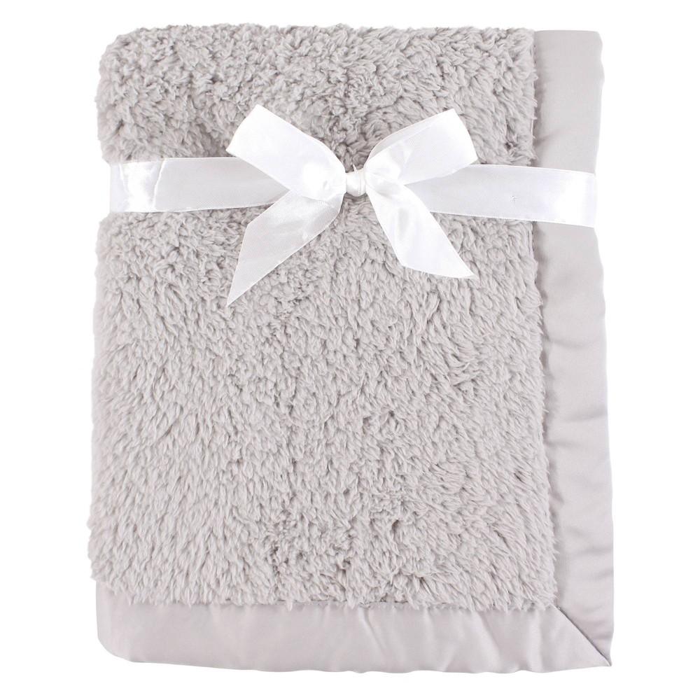 Hudson Baby Unisex Baby Sherpa Plush Blanket With Satin Binding Gray One Size