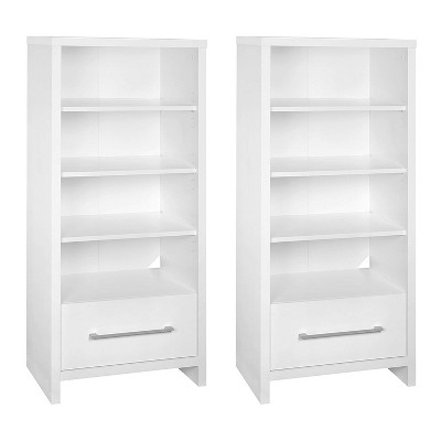 ClosetMaid 165100 Decorative Storage Tower Bookcase with Drawer, White (2 Pack)