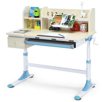 Costway Adjustable Height Kids Study Desk Drafting Table w/Bookshelf&Hutch Pink\Blue\Grey