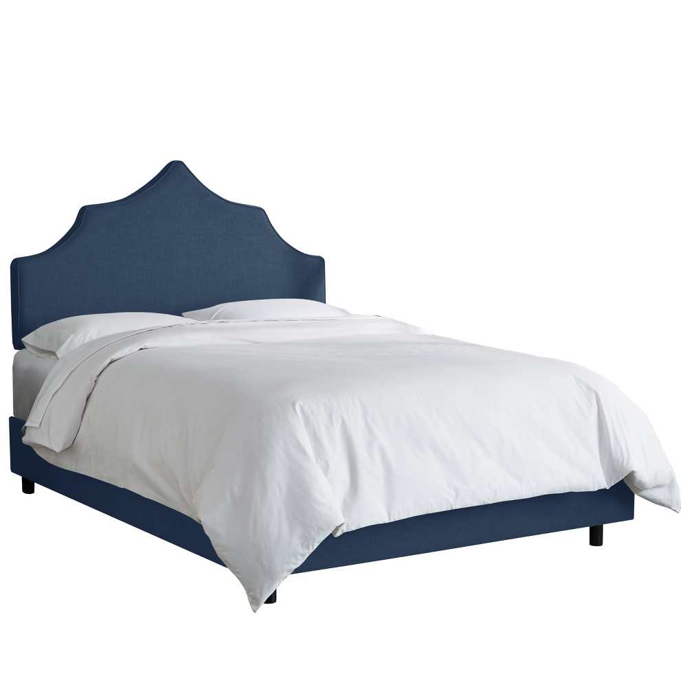 Upholstered Notched Bed Twin Linen Navy - Skyline Furniture