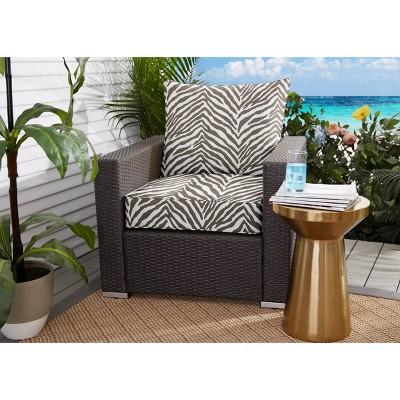 Sunbrella Indoor/Outdoor Deep Seating Pillow and Cushion Set Corded Gray Zebra