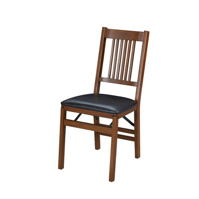 Set of 2 True Mission Folding Chair Fruitwood Brown - Stakmore