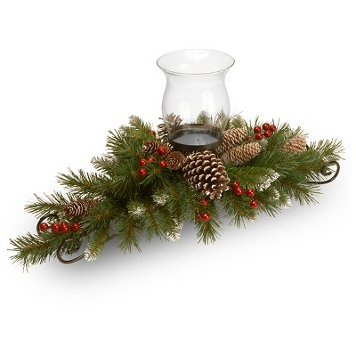 30  Frosted Berry Centerpiece with Candle Holder & Glass Hurricane Artificial Arrangement Green