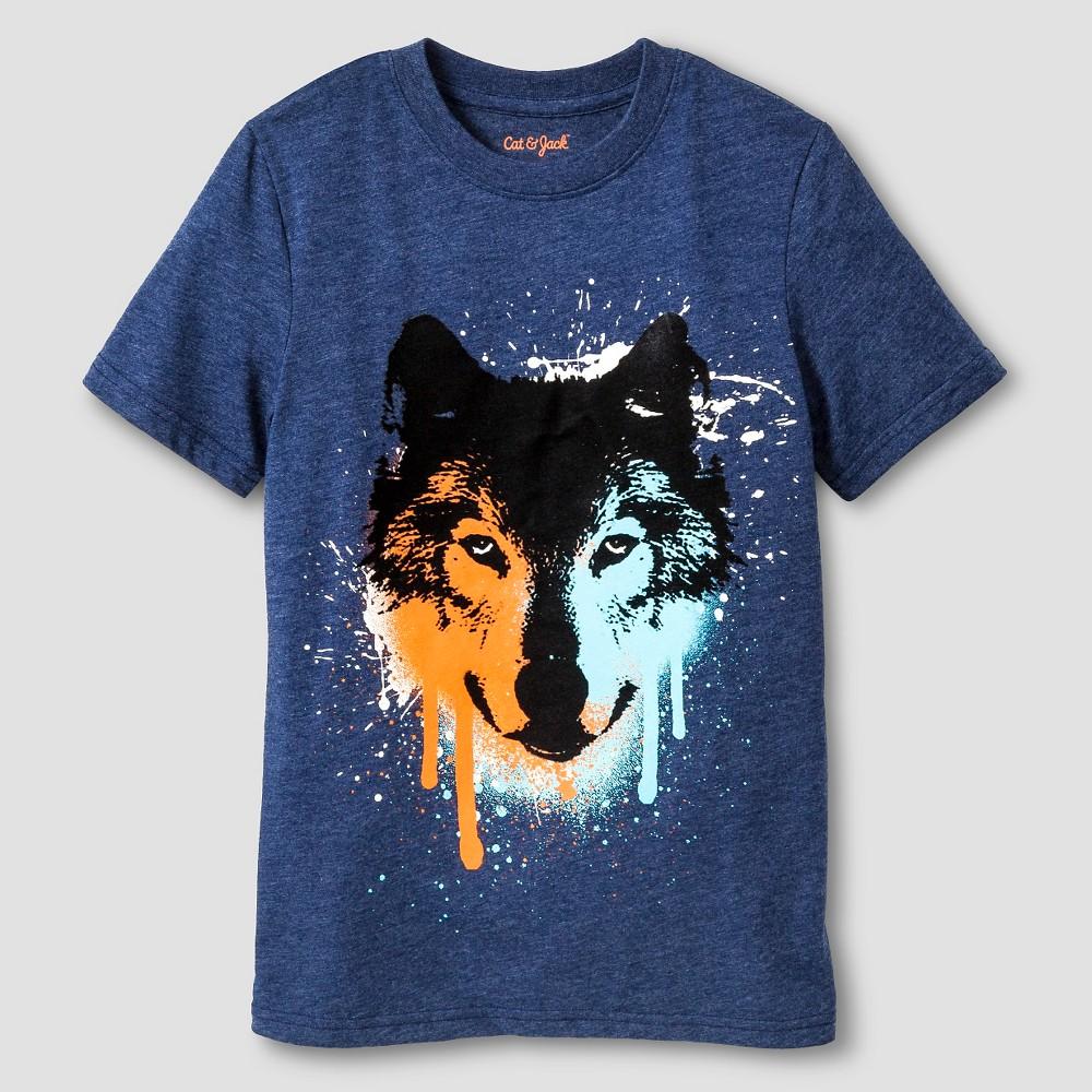 Boys' Wolf Graphic T-Shirt - Cat & Jack Navy (Blue) Xxl