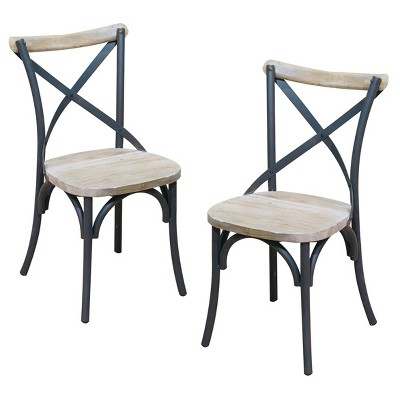 Charmant Reclaimed Wood Industrial Metal Dining Chairs (Set Of 2)   Brown   Walker  Edison