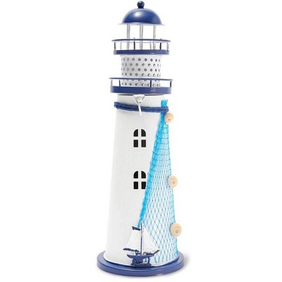Juvale Metal Lighthouse Decor with Candle Holder (11.4 in.)