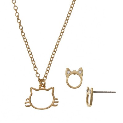 FAO Schwarz Fine Silver Plated Gold Tone Open Cat Pendant and Stud Earring Set