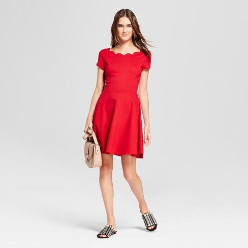 Women's Scalloped A Line Dress - Necessary Objects Red - image 1 of 2