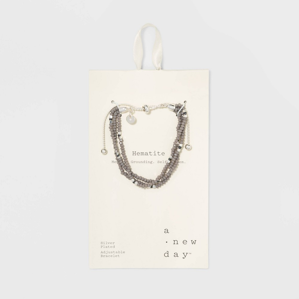 Silver Plated Hematite Accent Stone with Crystal Bolo Bracelet - A New Day Silver, Girl's