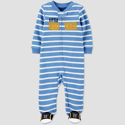 Baby Boys' Little Brother Fleece Interlock Sleep 'N Play - Just One You® made by carter's Blue 9M