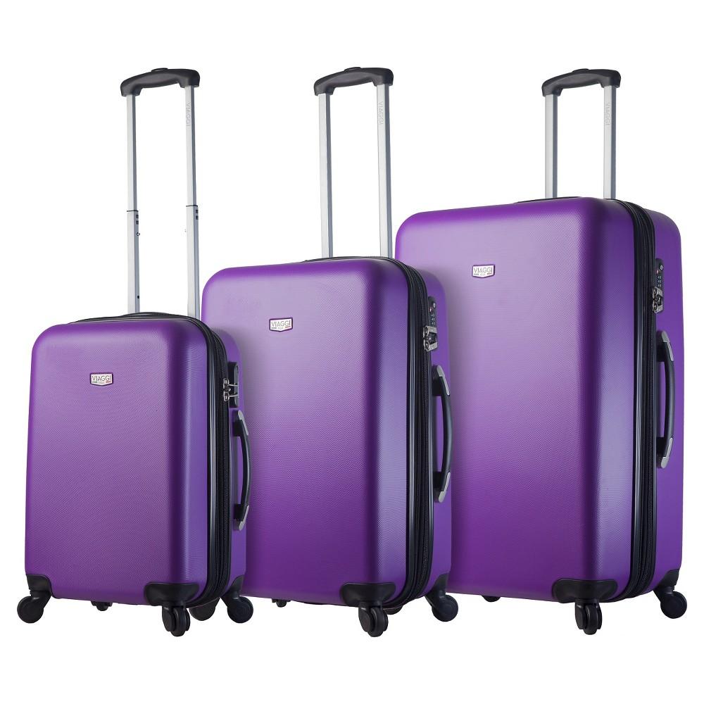 Mia Viaggi Arezzo Hardside 3pc Spinner Luggage Set - Purple