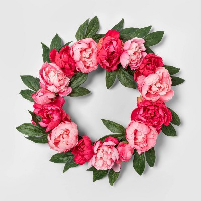 "19"" Artificial Peony Wreath Pink/Green - Threshold™"