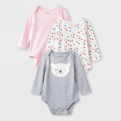 Baby Girls' 3pc Bodysuit Set - Cat & Jack™ Heather Gray/Pink/White 0-3M