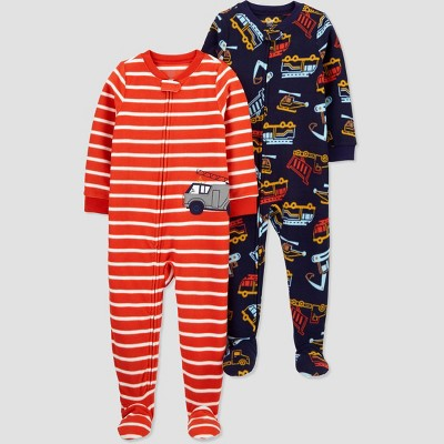 Toddler Boys' 2pk Construction/Firetruck Footed Pajama - Just One You® made by carter's Red 12M