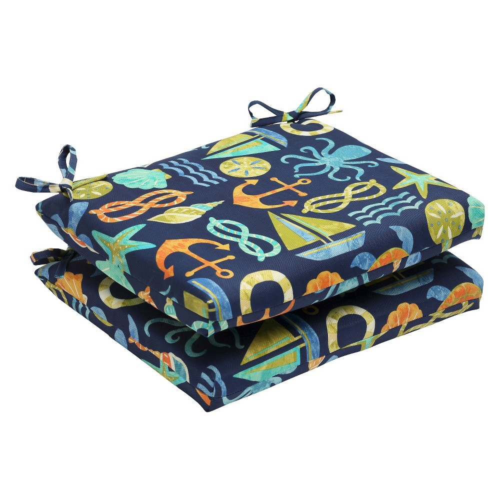 Pillow Perfect Seapoint 2-Piece Squared Edge Seat Cushion Set - Blue, Seapoint Blue