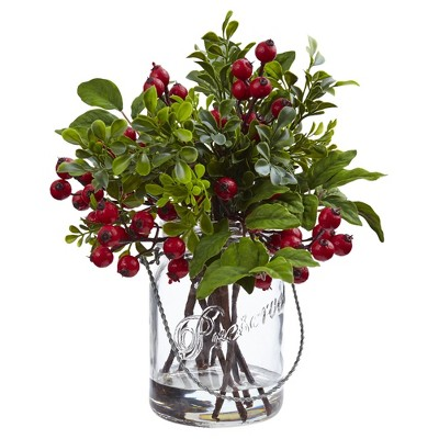 Berry Boxwood Arrangement in Glass Jar - Nearly Natural